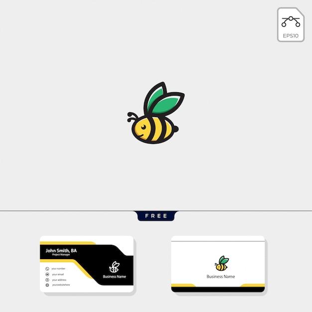 Fliegendes bienenlogo, kostenlose visitenkarte Premium Vektoren