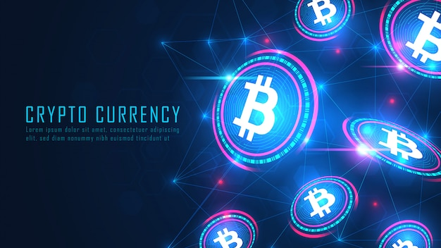 Fliegendes kunstwerkkonzept der bitcoin-blockchain-technologie Premium Vektoren