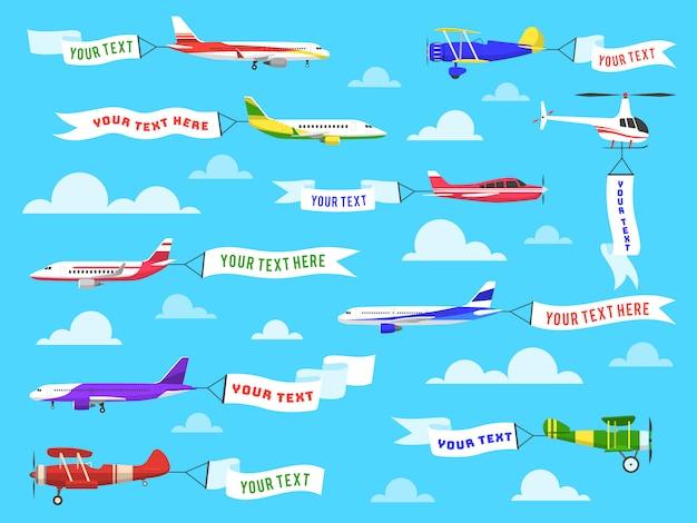 Fliegendes werbebanner. himmel flugzeuge banner flugzeug flug hubschrauber band vorlage text werbung nachrichtensatz Premium Vektoren