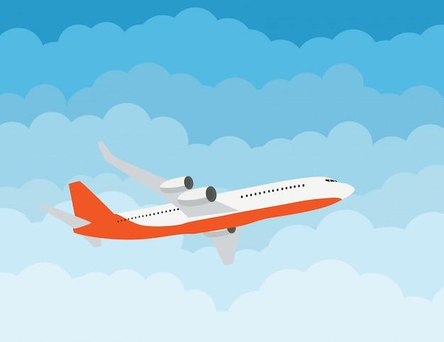 Fliegenflugzeug-eilzustellungs-versandkonzept Premium Vektoren