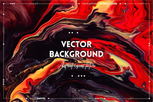 Fließende kunstbeschaffenheit. abstrakter wirbelnder farbeffekt. überlaufende farben rot, braun, gelb und schwarz. Premium Vektoren