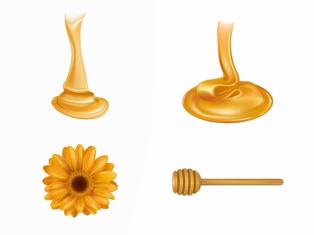 Fließender honig, hölzerner schöpflöffel und gelbe blume Kostenlosen Vektoren