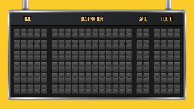 Flip anzeigetafel, ankunft flughafen board alphabet. Premium Vektoren
