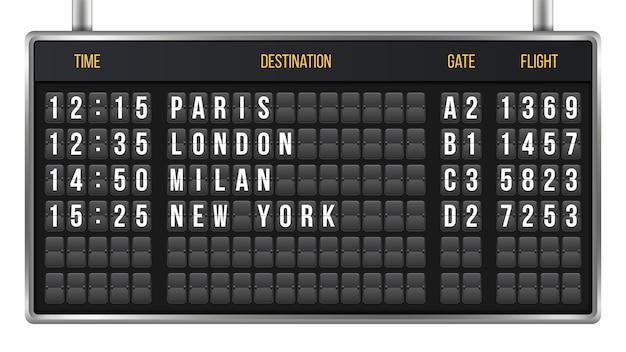 Flip anzeigetafel, ankunft flughafen board alphabet Premium Vektoren