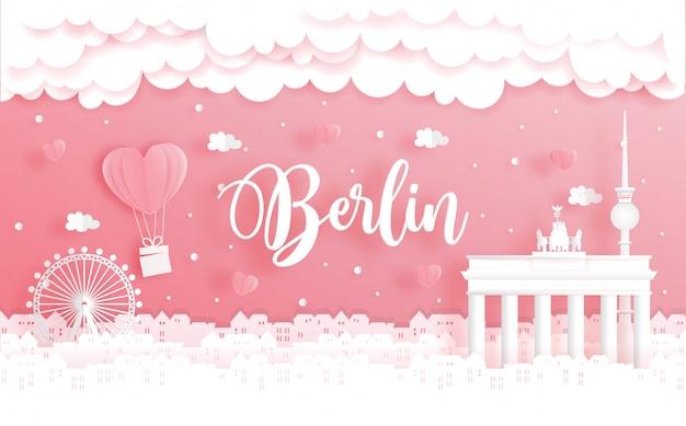 Flitterwochenreise und valentinstagkonzept mit reise nach berlin, deutschland Premium Vektoren