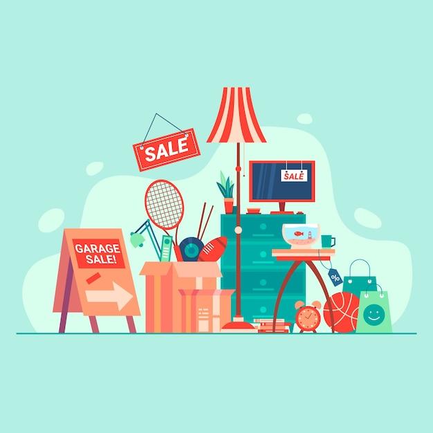 Flohmarkt artikel konzept Kostenlosen Vektoren