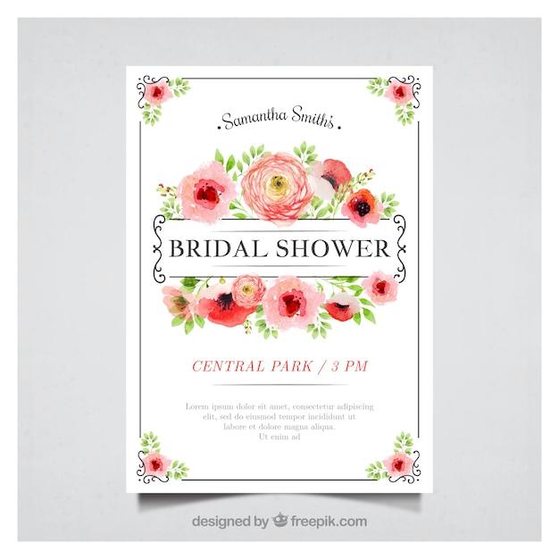 Floral bachelorette Einladung in Aquarell-Stil Kostenlose Vektoren