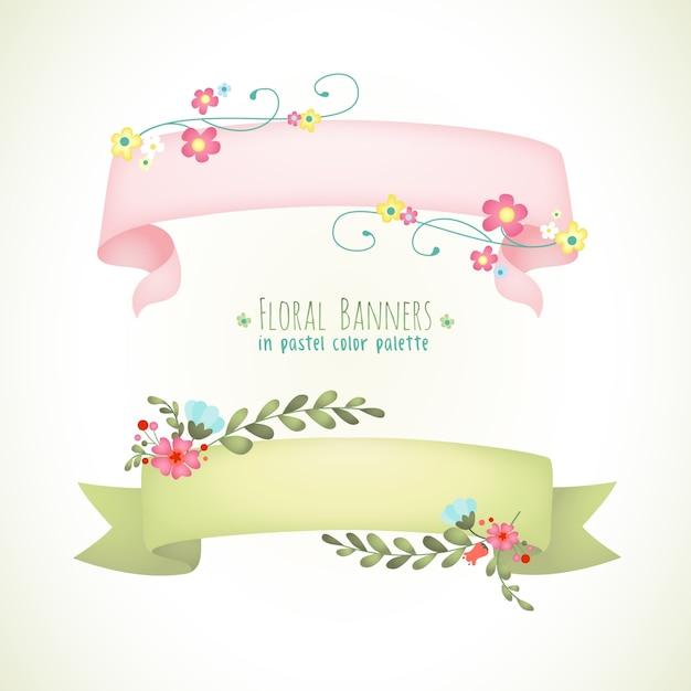 Floral banner pastellfarbe Premium Vektoren