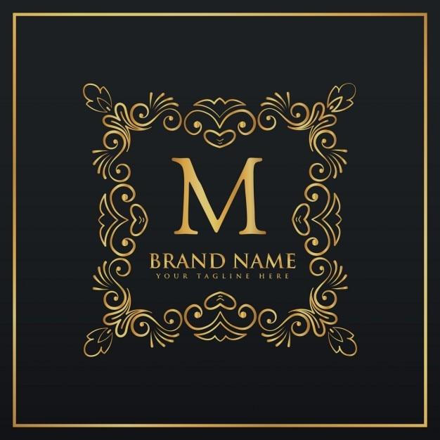 Floral dekorative Rahmen Grenze Monogramm-Logo für den Buchstaben M ...