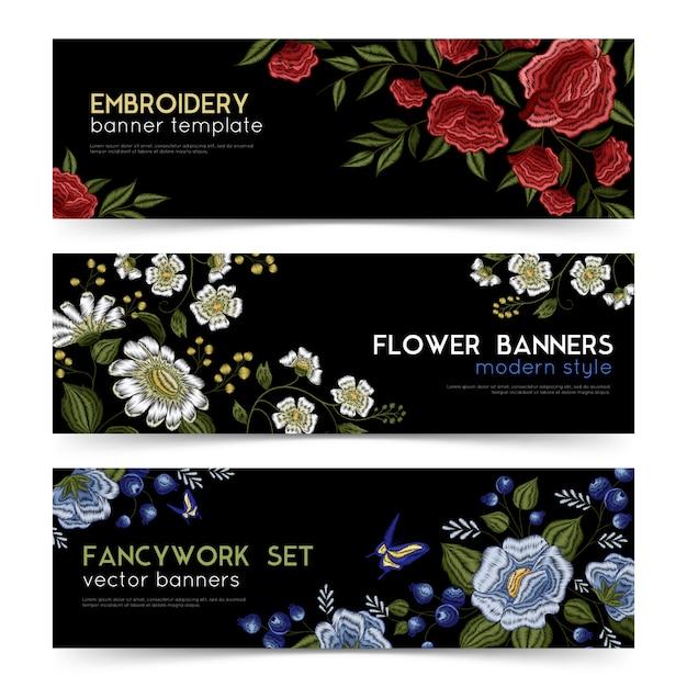 Floral folk stickerei banner set Kostenlosen Vektoren