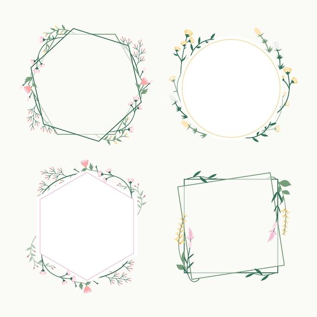 Floral frame abzeichen Kostenlosen Vektoren
