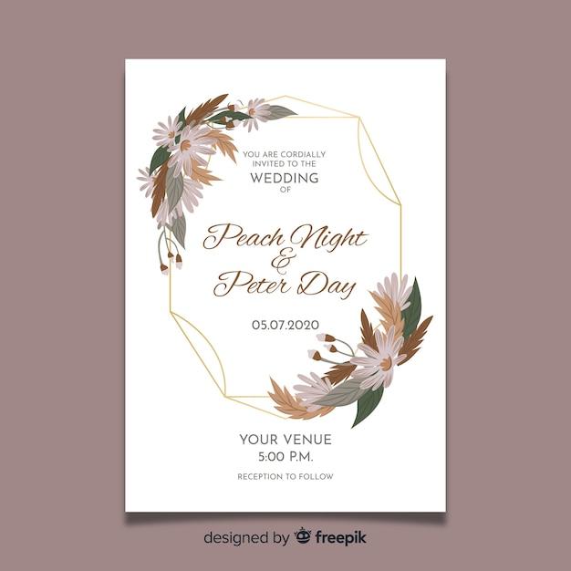 Floral frame hochzeit einladungskarte Kostenlosen Vektoren