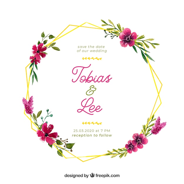 Floral frame hochzeit einladungsvorlage Kostenlosen Vektoren