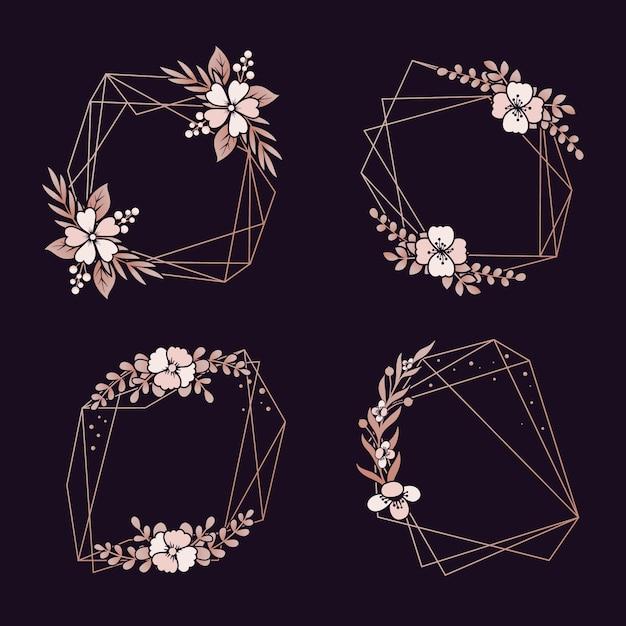 Floral geometrische ränder packen Kostenlosen Vektoren