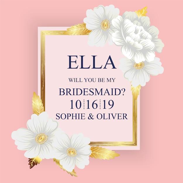 Floral Hochzeitskarte Mit Rosa Hintergrund Download Der Premium Vektor