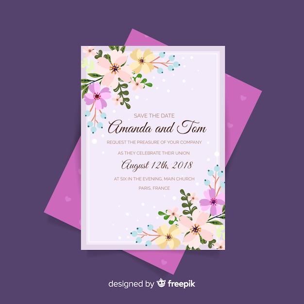 Floral hochzeitskarte vorlage Kostenlosen Vektoren