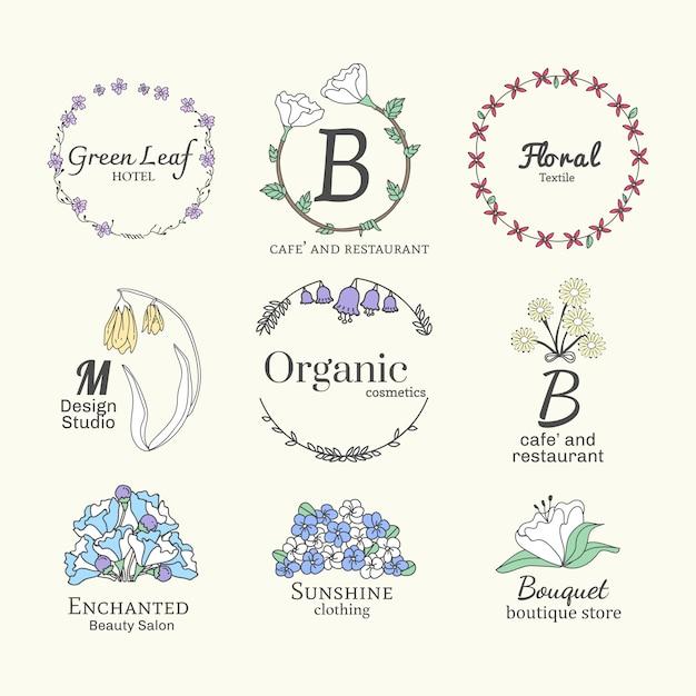 Floral logo-designs festgelegt Kostenlosen Vektoren