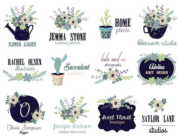 Floral logo-rahmen für hochzeit, branding. Premium Vektoren