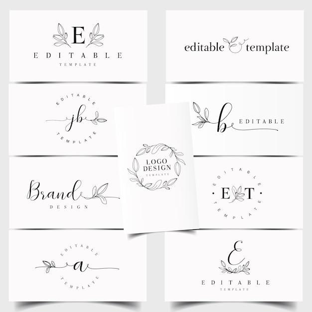 Floral logo-schöpfer Premium Vektoren