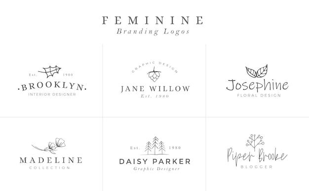Floral logo-vorlagen. vektor-minimalistische logos. rustikale elegante logos Premium Vektoren