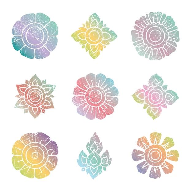 Floral thai bunte grunge vektor-set Kostenlosen Vektoren