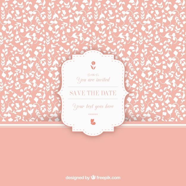 Floral Vintage Muster Mit Hochzeitseinladung Label Download Der