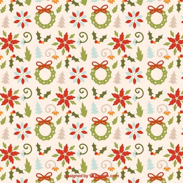 floral weihnachten muster download der kostenlosen vektor. Black Bedroom Furniture Sets. Home Design Ideas