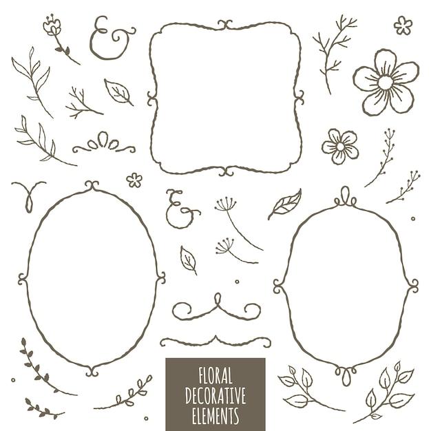 Florale dekorative elemente Premium Vektoren