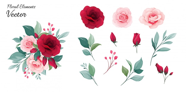 Florale elemente. blüht dekorationsillustration von rosafarbenen blumen des rotes und des pfirsiches, blätter, niederlassungen Premium Vektoren