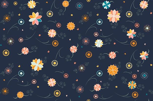 Florales dunkles nahtloses muster Premium Vektoren