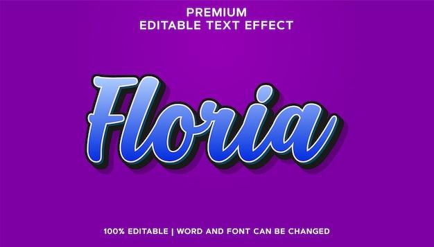 Floria premium blue bearbeitbarer schrifttext-effekt Premium Vektoren