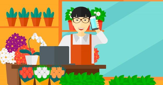 Florist, der bestellung entgegennimmt. Premium Vektoren