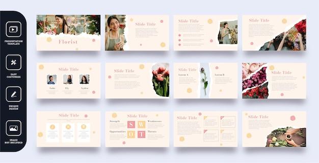 Florist folie präsentationsvorlagen gesetzt Premium Vektoren