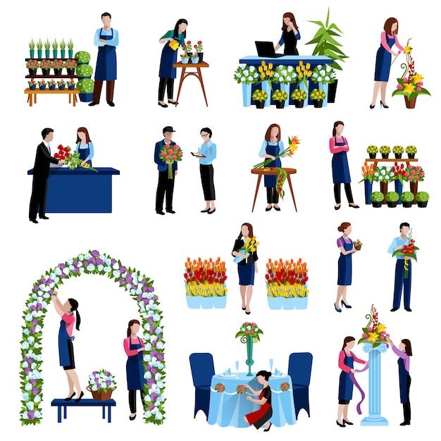 Floristen, die schnittblumen arrangieren und hochzeitsbogen verzieren Kostenlosen Vektoren
