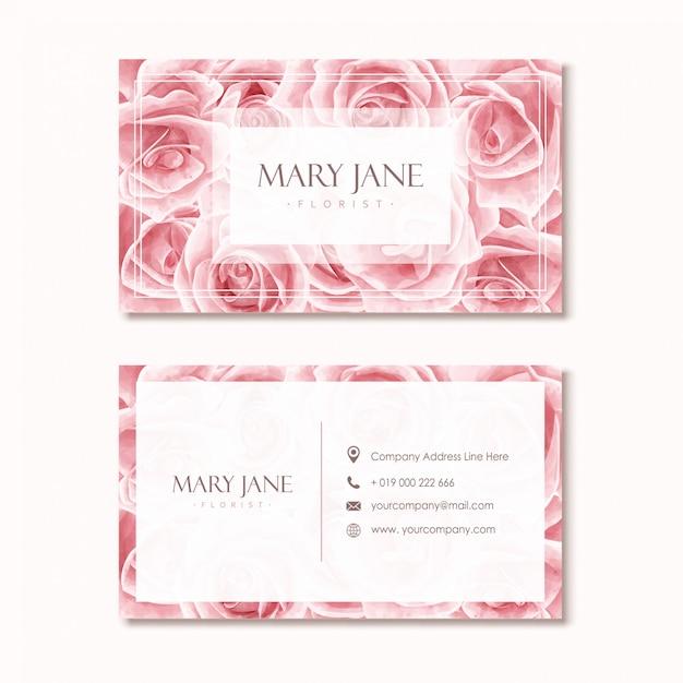 Floristen-visitenkarte-schablone mit rosa aquarell-blumenmuster Premium Vektoren