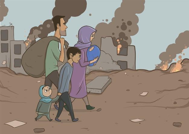 Flüchtlingsfamilie mit zwei kindern auf zerstörten gebäuden. einwanderungsreligion und soziales thema. kriegskrise und einwanderung. horizontale vektorillustration zeichentrickfiguren. Premium Vektoren