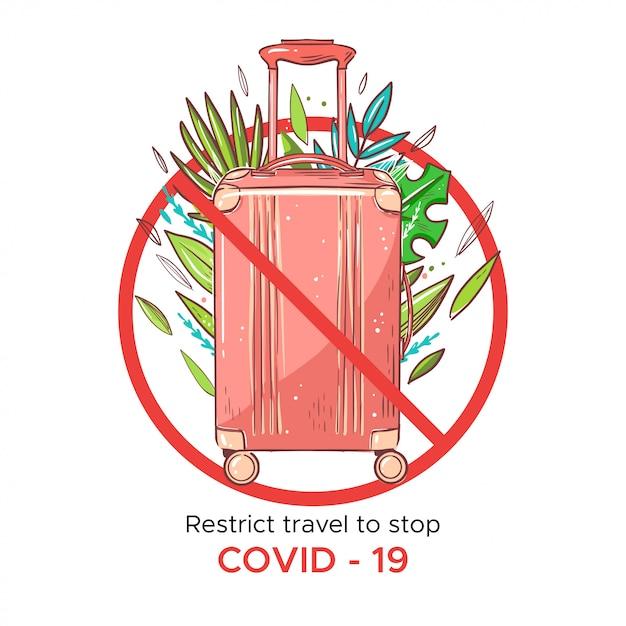 Flüge abbrechen, um das coronavirus zu stoppen. rosa reisetasche mit palmenblättern Premium Vektoren