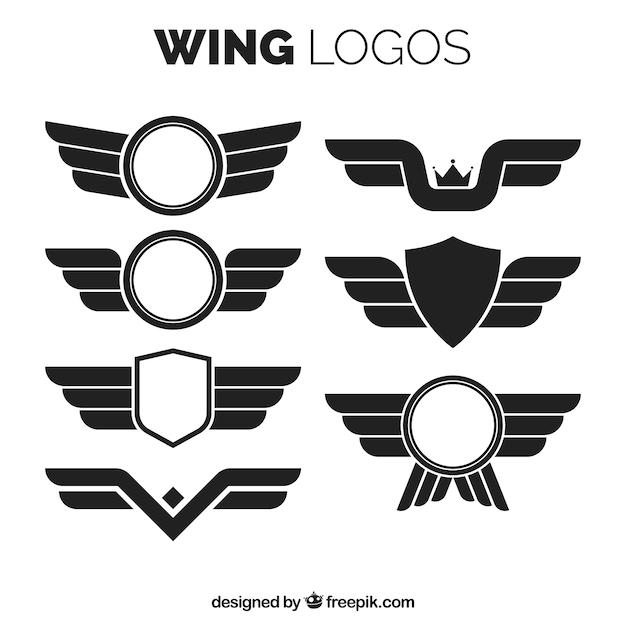 Flügellogos in flachem design Kostenlosen Vektoren