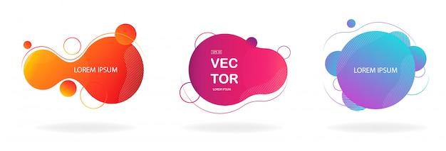 Flüssige farbabzeichen gesetzt Premium Vektoren