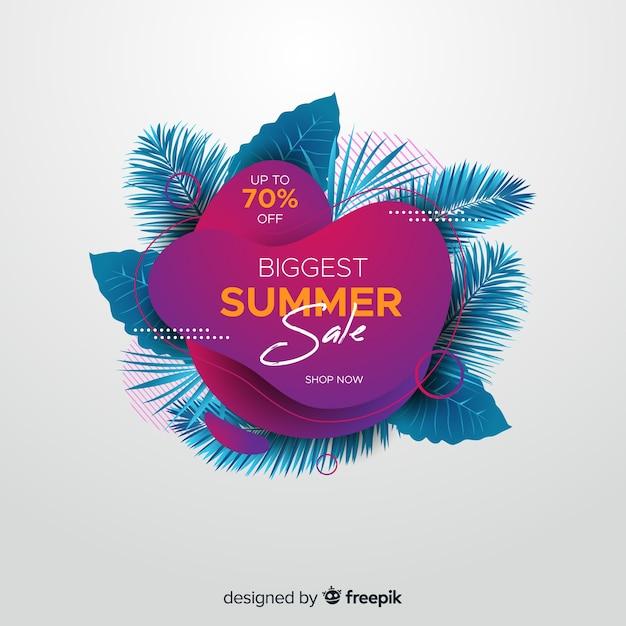 Flüssige formen des sommerschlussverkaufs und tropischer blatthintergrund Kostenlosen Vektoren