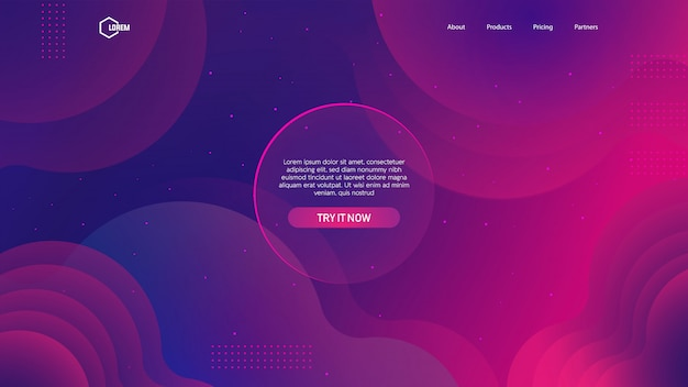 Flüssiger farbhintergrund für landingpage-web Premium Vektoren