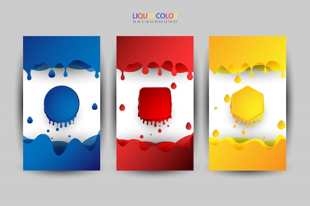 Flüssiger farbsatz, verschiedene farben als hintergrund Premium Vektoren