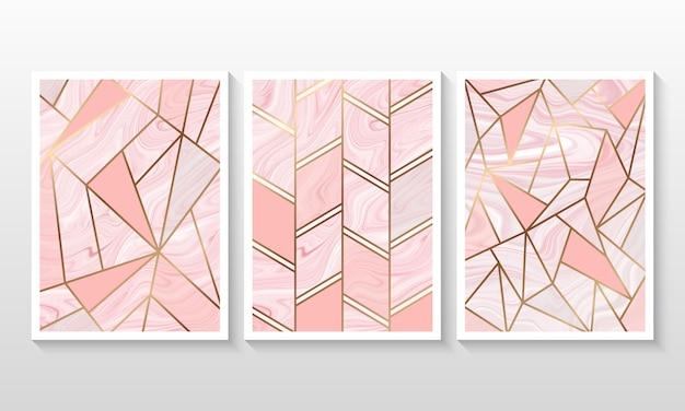 Flüssiger marmorhintergrund mit linie geometrische form Premium Vektoren
