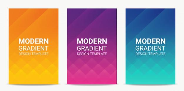 Flüssiger moderner steigungshintergrund-designschablonensatz Premium Vektoren