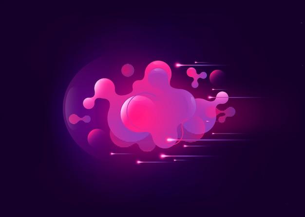 Flüssiger rosa farbiger geometrischer hintergrund mit abstraktem flüssigem steigungselemen Premium Vektoren