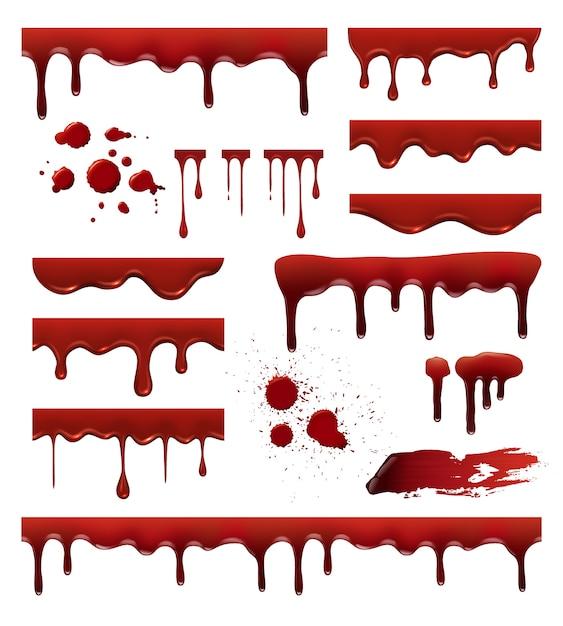 Flüssiges blut. rote saucen tropfen spritzer blob blutfleck vorlagen sammlung. blutflüssigkeit, klecks und fleck, tropfspritzerillustration Premium Vektoren