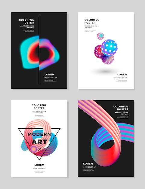 Flüssiges hologramm der modernen abstrakten abdeckungsdesignschablone formt zusammensetzung Premium Vektoren