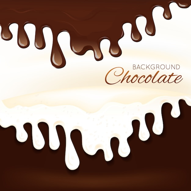 Flüssiges schokoladenspritzen des bonbonsachtischs tropft hintergrundvektorillustration Premium Vektoren