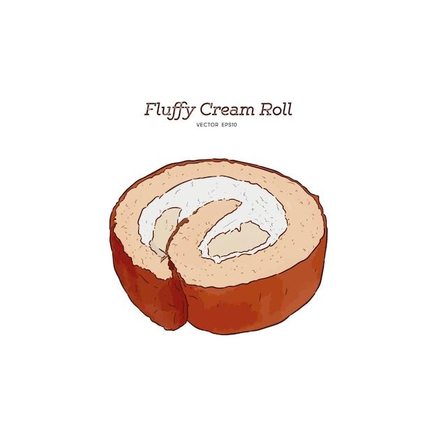 Fluffy sahne rollkuchen Premium Vektoren