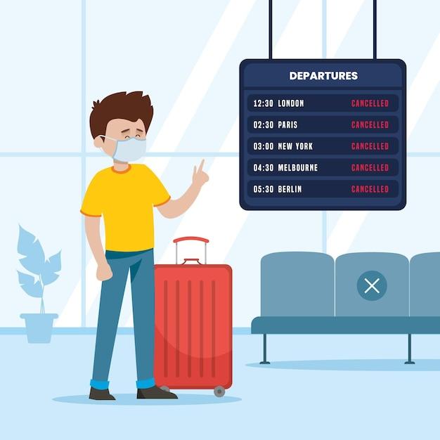 Flug mit passagier abgesagt Premium Vektoren